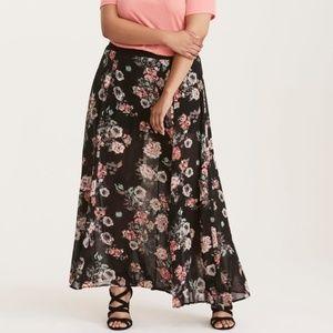 Floral Print High Waist Chiffon Maxi Skirt